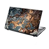 TaylorHe 13-14 inch Laptop Skin Vinyl Decal with Colorful Patterns and Leather Effect Laminate MADE IN England Gold Dust on Blue Marble