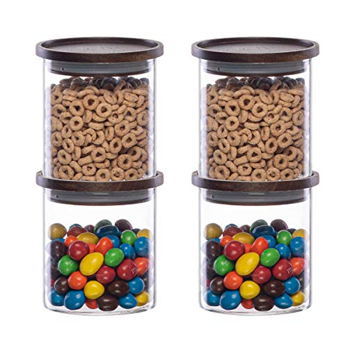 Essos Glass Jars with Wood Lids Set (4) of 22 fl oz Airtight and Stackable Storage Containers for the Kitchen or Pantry Canister Wooden Lid holds Food Cookies Coffee Pasta