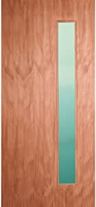 """ETO Doors Corp Leptos - Exterior Mahogany Solid Wood Entry Door with Single Vertical Lite and Laminate Glass, 1-3/4"""" (36"""" x 80"""" x 1-3/4"""")"""