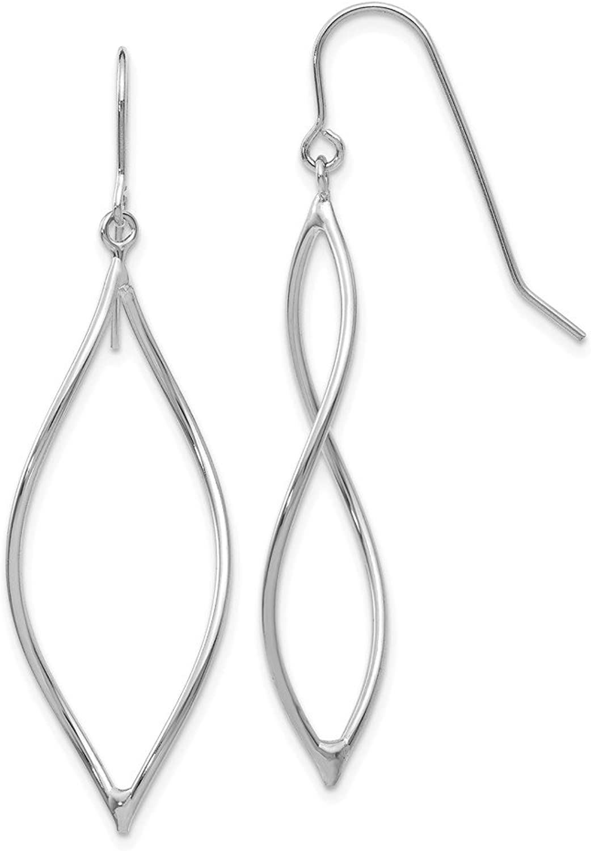 Beautiful White gold 14K 14k White gold Polished Twisted Oblong Dangle Earrings