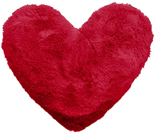 Brandsseller – Cojín con forma de corazón acogedor y de peluche decorativo en forma de corazón aprox. 40 x 30 cm (aprox. 40 x 30 cm, color rojo