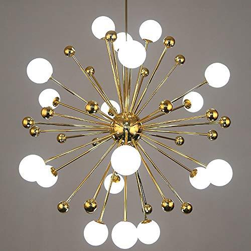Nordic Multi-Head Kronleuchter, Kreative Runde Feuerwerk-förmige Gold Eisen Glaskugel Beleuchtung Dekorative Lüster Deckenleuchten Postmoderne Cafe Esstisch Pendelleuchte (Color : 18heads)