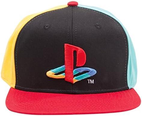 PlayStation Official Original Coloured Logo Black Snapback Cap Hat - One Size