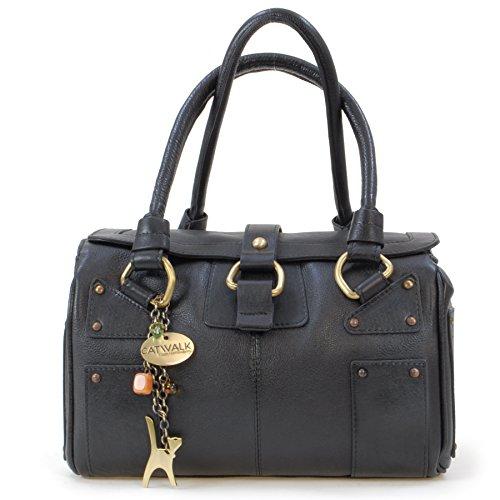 Catwalk Collection Handbags - Vera Pelle - Borsa a Spalla/Borse a Mano - Con Ciondolo a Forma di Gatto - Claudia - NERO