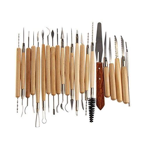 Zreal 22 stuks van roestvrij staal klei, keramiek en sculptuur handgesneden met houten handvat