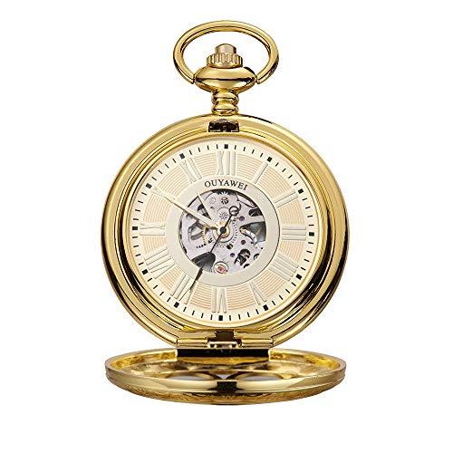 WFDA Reloj de Bolsillo con la Cadena Reloj de la Vendimia Cuerda Manual en Perspectiva Inferior de la Cubierta Reloj de Bolsillo mecánico de los Hombres (Color : Gold Shell Gold Surface)