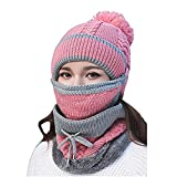 ZGHYBD 3 in 1 Unisex Winter Warm Beanie Hat Scarf Snood Set Pompom Cap For Men Women,with Face Mask Women Warm Knitted Scarf Pom Pom Cap ,for Indoor and Outdoor Sports Pink