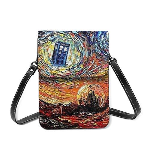 Art Starry Night Van Gogh Mini bolso bandolera para teléfono celular, cartera con purpurina y ranuras para tarjetas