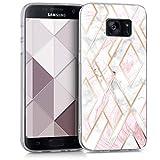 kwmobile Funda Compatible con Samsung Galaxy S7 - Carcasa de TPU y mármol y Oro en Oro Rosa/Blanco/Rosa Palo