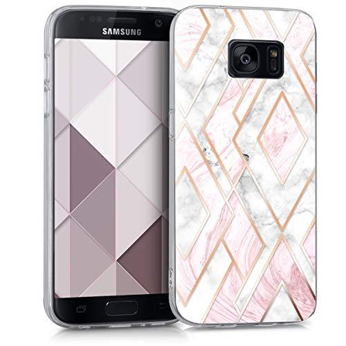 kwmobile Carcasa Compatible con Samsung Galaxy S7 - Funda de TPU y mármol y Oro en Oro Rosa/Blanco/Rosa Palo