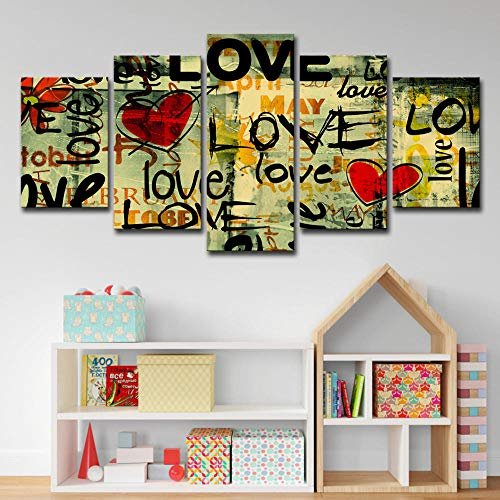 BIOAOUA Canvas Prints Wall Art5 Panels Wall Art Watering Can Painting Color Graffiti Heart Shape Abstract Love Picture Home Decoration Painting Printing Poster-B-With Frame_150X80CM