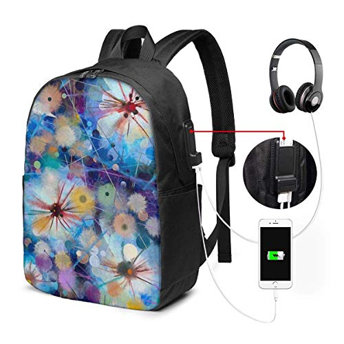 XCNGG Laptop Backpack,17 Inch College School Backpack with USB Charging Port, Casual Daypack for Travel (Floral Painting Spring Dandelion Flower)