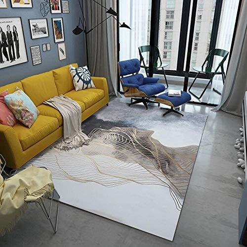 DLSM habitación Dormitorio Lavables Comedor,Alfombra Decorativa de Pelo Corto Tallada en línea en Espiral Exquisita para Interiores-El 160x230cm