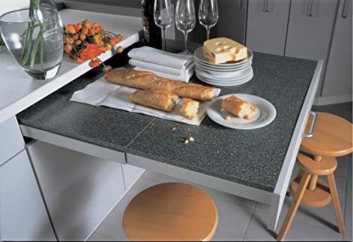Gedotec - Herraje extensible para mesa con parte frontal abatible - Topflex - Longitud de extracción 810 mm - Extracto para cajones de madera - 1 juego - guías extensibles para cajones