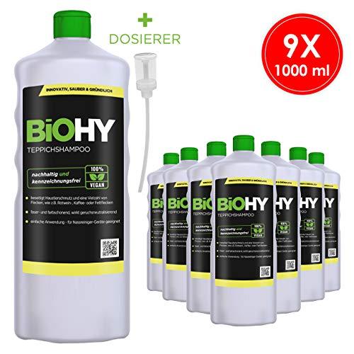 BIOHY Shampoo per tappeti concentrato 9 X 1 Litri Bottiglie + dosatore – Detergente per tappeti Ideale per la rimozione di Macchie ostinate – Speciale per la Pulizia.