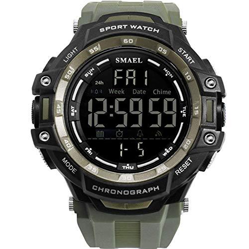 AYDQC Mens Relojes Digitales, 50M Impermeable de los Hombres Reloj Deportivo, Resistente a los Golpes electrónica Digital Reloj de Pulsera for Hombres Deporte al Aire Libre fengong (Color : Green)