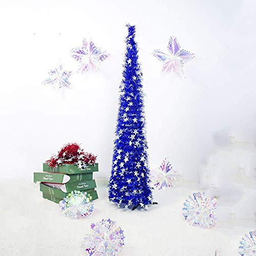 5ft Shiny Moon Star Christmas Tree Pop-Up Tinsel Plegable Artificial Christmas Tree W/Stand Christmas Decorations Trees Home Office Christmas Xmas Holiday Display Decoración Adornos,Star-Blue