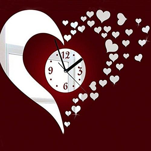Corazón 3D Diy Espejo Decoración Reloj De Pared Salón