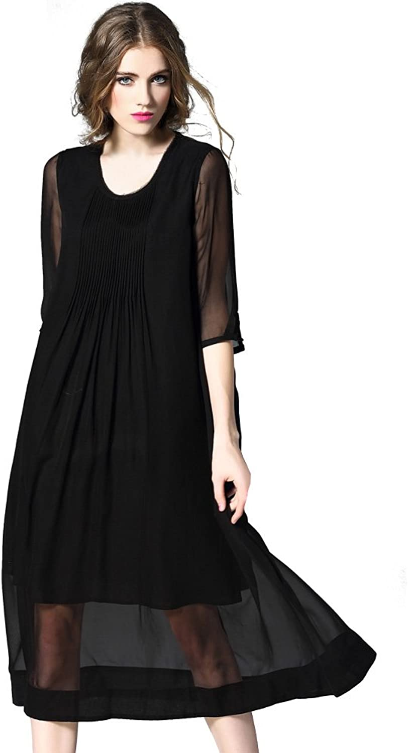 DIFANER Women's Silk Long Dresses 3 4 Sleeves Crew Neck Ruched Dress