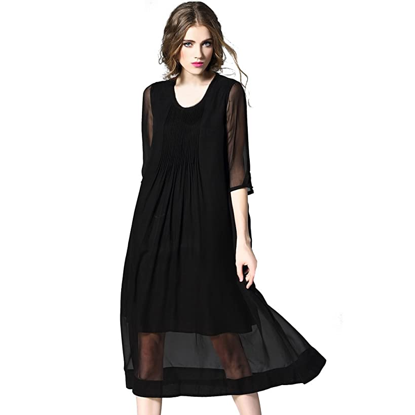DIFANER Women's Silk Long Dresses 3/4 Sleeves Crew Neck Ruched Dress