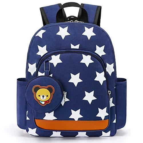 Cosyres Sterne Kleinkind Kinder Rucksack für Kindergarten Junge Babyrucksack Schultasche (Dunkelblau(Größe:L))