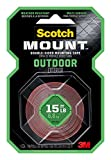 Scotch Outdoor Mounting Tape, 1-inch x 60-inches, Holds up to 15...