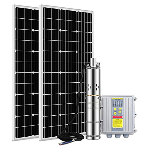 ECO LLC DC 24V 200W Submersible Solar Water Well Pump Kit, Solar Screw Pump Kit, 3'' Deep Well Submersible Pump + 200W Solar Panel + MPPT Pump Controller for Home and Industrial Use