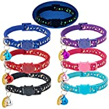 Cat Collar Breakaway with Bells - 6 Pack Glow in the Dark - Stars & Moon Charm Pendent Pet Reflective Collars Ideal Christmas Gift for Kitten Cats Puppy