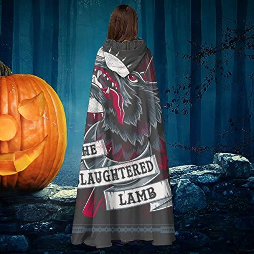 AISFGBJ - Disfraz de un Hombre Lobo Americano en Londres, Cordero masacrado, Unisex, para Navidad, Halloween, Bruja, Caballero, Bata con Capucha, Vampiros, Capa para Disfraz de Cosplay