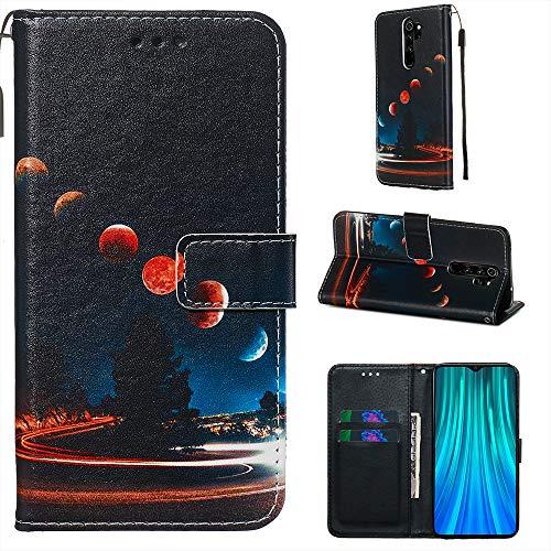 Nadoli Leder Hülle für Xiaomi Redmi Note 8 Pro,Bunt Erde Malerei Ultra Dünne Magnetverschluss Standfunktion Handyhülle Tasche Brieftasche Etui Schutzhülle für Xiaomi Redmi Note 8 Pro