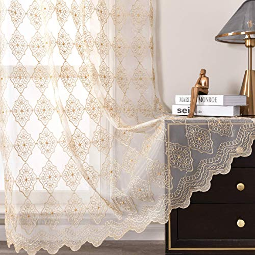 Jiyoyo Embroidered Lace Sheer Curtains for Living Room...