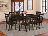 East West Furniture 9-Pc Kitchen Table Set Included a Self-Storing Butterfly Leaf Modern Kitchen Table and 8 Dining Chairs - Solid Wood Kitchen Chairs Seat & Slatted Back - Cappuccino Finish