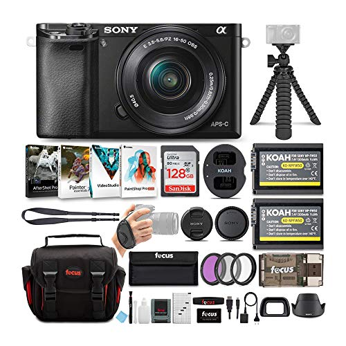 Sony Alpha a6100 APS-C Mirrorless Interchangeable-Lens Camera with 16-50mm Lens Bundle (9 Items)