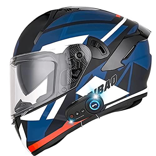 ZHANGYUEFEIFZ Bluetooth Casco Moto Modular ECE Homologado Casco de Moto Integral para Mujer Hombre Adultos con Anti Niebla Doble Visera Casco Integrado con 500mA Auriculares Bluetooth