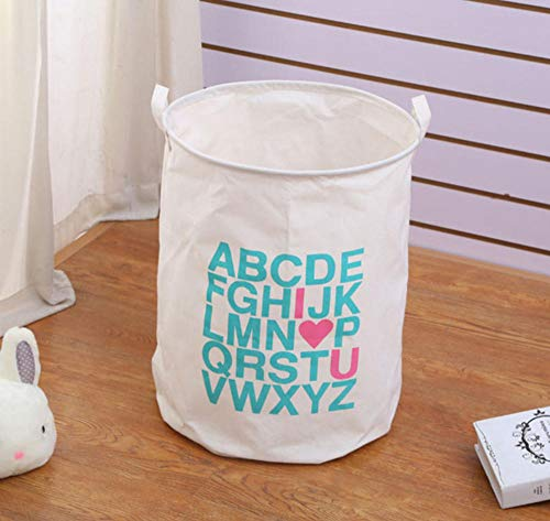 sufengshop Wasmand Engels alfabet Waterdicht Grote Capaciteit Cartoon Vouwen Vuile Wasmanden Kinderen Speelgoedkist Opslag Afwerking Orgnizer 40×50cm