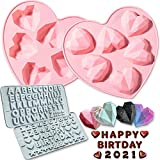 Heart Silicone Molds, Breakable Heart Mold Set of 4 with Number and Letter Molds for Chocolate, Diamond Heart Shaped Silicone Mold for Baking Mousse Cake, Dessert