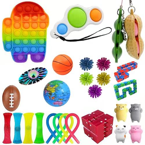 Push Pop Fidget Toy Set, Pop Bubble Fidget Toys per bambini e adulti, tra in esso un giocattolo sensoriale per alleviare l'ansia per l'autismo ADHD (28 pezzi, set28)