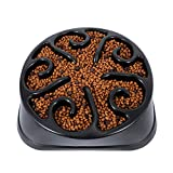 KASBAH Dog Slow Feeder Bowl, Puzzle Bowl for Large Dogs, Anti-Choke Large Dog Bowl Anti-Gulping Slow Food Feeding Dishes Interactive Bloat Stop Dog Bowls, Black