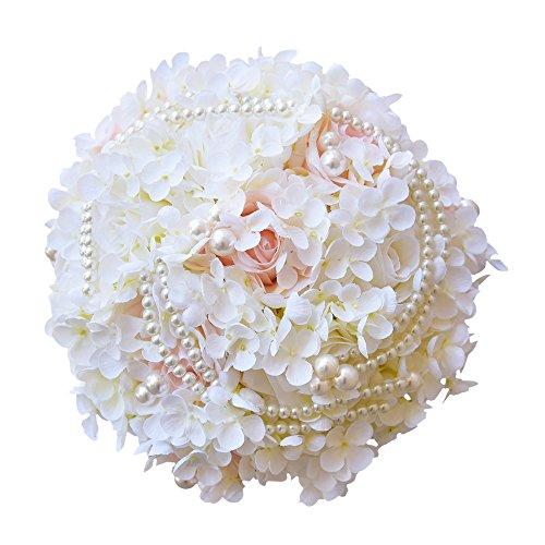 Quibine Bouquet de Fleurs Artificielles Mariage Orné Perle Chaîne pour Mariée Demoiselle d'Honneur