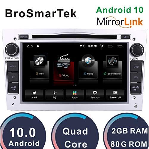 Android 10 Radio estéreo para Coche para Opel Vauxhall Corsa Astra Zafira 7 Reproductor de DVD con Pantalla táctil Soporte de navegación GPS Radio Bluetooth RDS Pantalla Espejo WiFi Dab (Plateado)