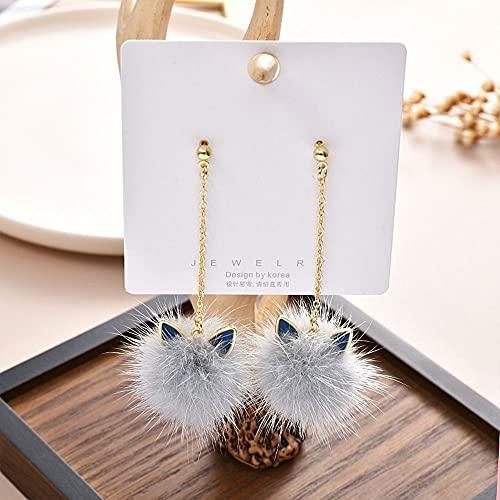 YONGYAN Long Earrings for Women Cat Ears Mink Fur Ball Earrings Female Temperament Personality All-Match Long Fur Earrings (Color : A)
