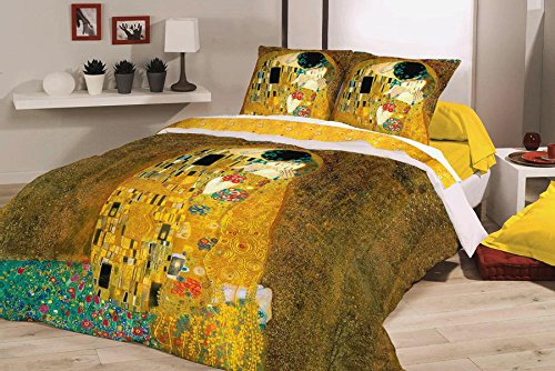 Deco Italia Set Copripiumino copriletto Klimt – Il Bacio 100% Cotone | Matrimoniale 250 x 240 cm + 2 federe 50 x 80 cm