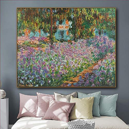 Jardín del artista de Monet Flores Pintura en lienzo Caligrafía Póster Impreso Arte de la pared de la sala Pintura Decoración del hogar 19.6