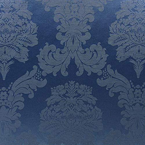 Dekostoff Jacquard Damasco 280 cm – königsblau — Meterware ab 0,5m — zum Nähen von Kissen/Tagesdecken, Decken & Taschen