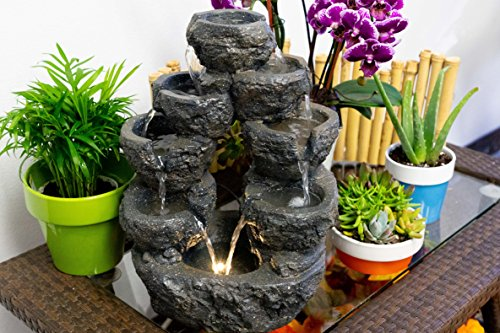 Alpine 5-Tiered Cascading Fountain, Gray, 14 Inch Tall