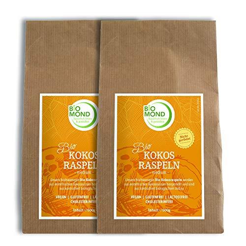 BIO Kokosraspeln Kokosflocken Kokosnussflocken BIOMOND, 2 x 500 g / Vorteilspack / medium / nicht geröstet / Rohkostqualität