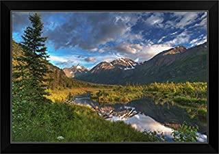 CANVAS ON DEMAND Scenic View of Eagle River Valley and Chugach Mountains at Sunset, Alaska Black Framed Art Prin.