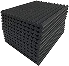 JVSISM 12 Pcs Black Acoustic Panels Soundproofing Foam Acoustic Tiles Studio Foam Sound Wedges 2.5 x 30 x 30cm