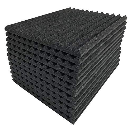 ADDFOO 12 Stks Zwarte Akoestische Panelen Geluiddicht Schuim Akoestische Tegels Studio Foam Geluid Wiggen 2,5 x 30 x 30 cm