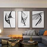 Domrx Imágenes de póster Línea Abstracta en Blanco y Negro decoración de la Sala de Estar Pintura ModernalíneaMinimalistaMural geométrico Fondo nórdico 40x60cm / 15.7'x23.6 x3 sin Marco
